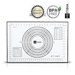 HEYNNA ® Premium Silikon Backmatte/Rutschfeste Backunterlage 60x40cm - Silikonmatte zum Kochen und Backen, Backofenfest, 100% BPA frei
