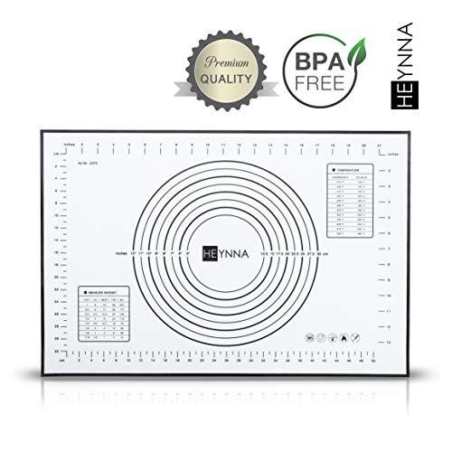 HEYNNA® Premium Silikon Backmatte/rutschfeste Backunterlage 60x40cm - Silikonmatte zum Kochen und Backen, Backofenfest, 100% BPA frei - Heiße Rollen Locken