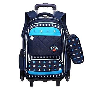 Mochila con Ruedas – Durable Rolling Daypack Bolso de Escuela de Gran Capacidad Elegante Daypack para Estudiantes de Primaria (6 Ruedas)