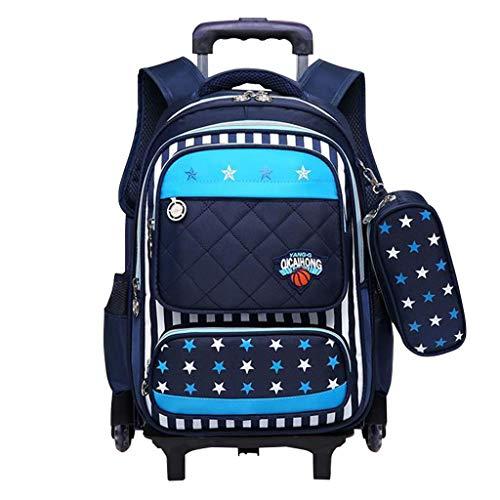 Mochila con ruedas - Durable Rolling Daypack Bolso de escuela de gran capacidad Elegante Daypack para estudiantes de primaria (6 ruedas)
