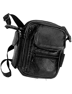 Herrentasche 1720 Umhängetasche Leder schwarz o braun ca.17,0 x 19,0 x 7,0 cm