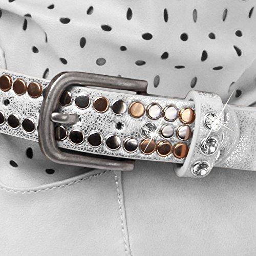 CASPAR Damen Stiefelband / Stiefelschmuck mit Nieten und Strass - viele Farben - STB002 Silber Metallic