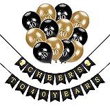 40. geburtstag dekoration, Konsait Cheers zum 40. Geburtstag Girlande, Celebration 40. geburtstag luftballons Latex Ballons Gold und schwarz für seine oder ihre 40 Jahre alt Geburtstagsfeier