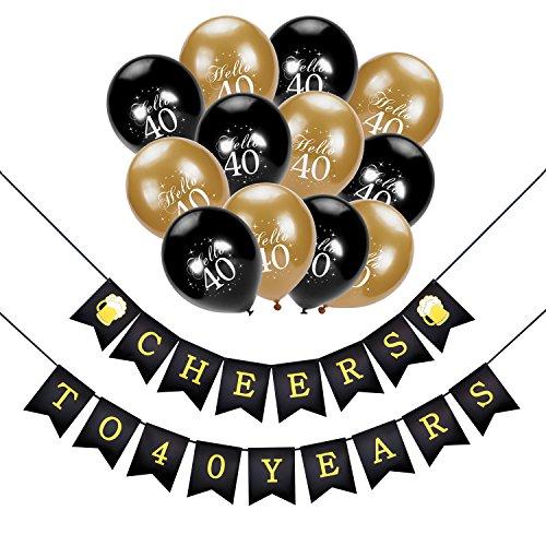 Konsait cumpleaños pancartas de Banderines cheers to 40 years con 30 Dorados y negro Globos De Látex Globos Perlados Para Adultos 40 Años de Antigüedad Fiesta de Cumpleaños Decoraciones