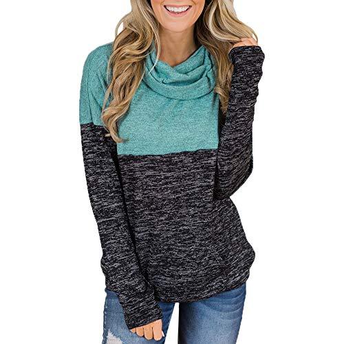 Sudadera Mujer,Moda Manga Larga Casual Patchwork Suéter