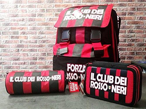 Rossoneri kit zaino estensibile, astuccio 3 zip completo giotto, e tombolotto- il club dei rossoneri (modello milan)