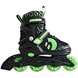 Best Sporting Inline Skates, Größe verstellbar mit ABEC 7 Carbon-Kugellager, Inliner für Kinder, Jugendliche und Erwachsene, Größe:30 - 33, Farbe: grün/schwarz