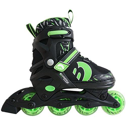 Best Sporting Inline Skates, Größe verstellbar, ABEC 7 Carbon, Inliner Kinder und Jugendliche, Farbe grün-schwarz, Größe 38-41