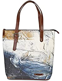 Kantha Handcrafted Leather And Canvas Modern Art Printed Women Tote Handbag With Adjustable Handle