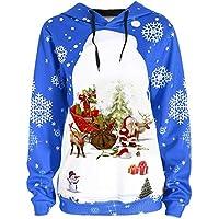 LILICAT☃ Santa Claus Snow Gifts Snowflake Imprimir Hoodie Tops Mujeres Feliz Navidad Santa Claus Imprimir Snowflake Sudadera con Capucha Blusa