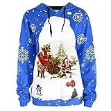 Fröhliche Weihnachten! SHOBDW Damen Wild Pullover Outwear Lose Bluse Shirts Frauen Winter Elegant Schneeflocke Rentier Drucken Langarm Warme Drawstring Hoodie Sweatshirt