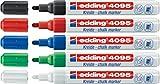 5er Set edding 4095 Fenster-/Kreidemarker, 2-3mm [Grundfarben] | Schwarz, Blau, Rot, Grün und Weiß