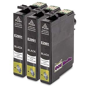 3 cartouches d 39 encre compatibles avec epson t2991 xl 3x noir 18ml pour epson expression. Black Bedroom Furniture Sets. Home Design Ideas