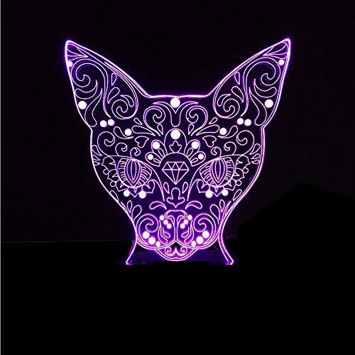 Dwthh 7 Colores Cambiantes 3D Led Cabeza De Leopardo Usb Luz De La Noche Animal Cara De La Mesa Luminosa Niños Juguetes Regalos Dormir Junto A La Noche Accesorio De Iluminación