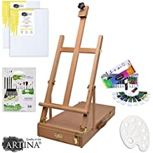 Artina Le Mans - Set de pintura - Caballete de pintura maletín, pinceles, colores acrílicos, paleta y cartón para pintar