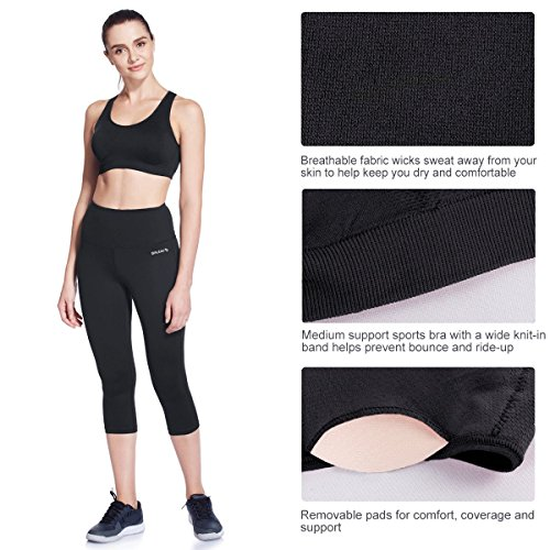 Baleaf Damen Yoga Sport BH Fitness Nahtlos Bustier Stretch Sport-BH Sports Bra Top Gepolsterte Cups entfernbar Für Yoga Fitness-Training Schwarz