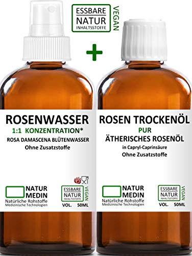 ROSEN TROCKENÖL + ROSENWASSER, Glas 50-ml + 50-ml Spray, essbare Natur-Inhaltsstoffe, Gesichtswasser + nicht fettendes Rosen-öl, Gesichts-öl, Körper-öl, für Frauen und Männer, nachhaltig
