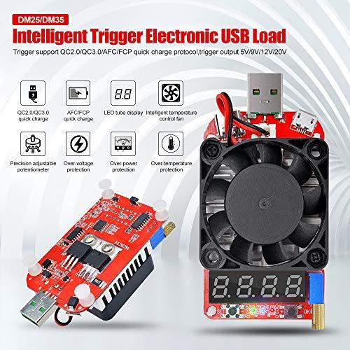 diymore USB Load Tester Elektronische Lasttester Widerstandsmodul Trigger QC2.0 3.0 DC4-25V 35W USB Typ C Schnittstelle Entladung Einstellbar Konstantstrom Intelligente Temperaturregelung mit Lüfter Decoy Usb