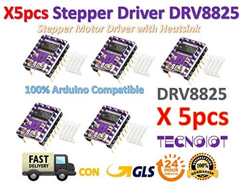 5pcs Stepstick DRV8825 Stepper Motor Driver Reprap RAMPS replace A4988 | 5pcs DRV8825 Módulo de controlador de motor paso a paso de 5 capas con mini disipador de calor para la impresora 3D