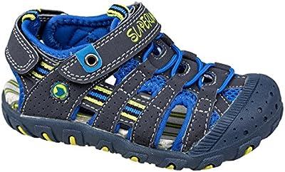 gibra® Sandalias Trekking para niños, con velcro, color azul oscuro, talla 25-36