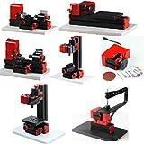 UniqStore mini torno 6 funciones Kit con brazo de proa máquina herramienta de metal de madera bricolaje fresado de vaivén de perforación del torno modelo