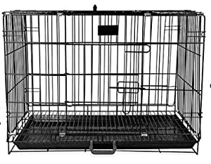 Woofy Dog Cage - Powder Coated, Double Door Folding Metal Cage/Crate/Kennel with Removable Tray and Paw Protector for Dogs, Cats and Rabbits - 24 Inch - Black