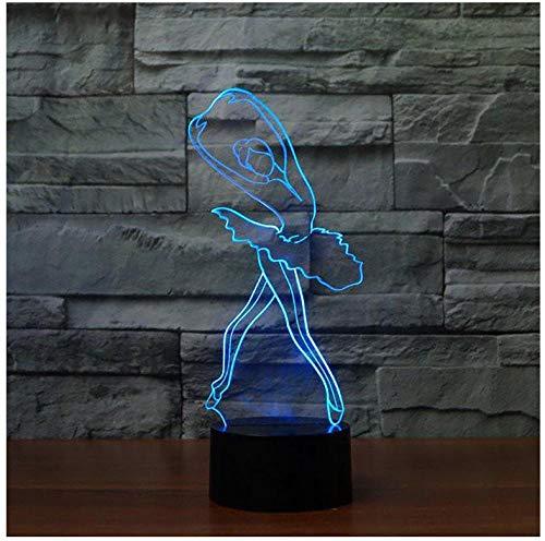 Taste Ballerina (Nachtlicht NachttischLampee 3D Ballet Girl Cute Ballerina Nachtlicht Led Table Lampe For Children Kids Gift Christmas Indoor Decor Baby Sleep Light Fixture)