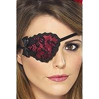 Smiffys Damen Piraten Augenklappe mit Spitze, One Size, Rot und Schwarz, 20805
