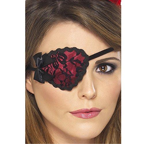 Smiffys, Damen Piraten Augenklappe mit Spitze, One Size, Rot und Schwarz, 20805 (Schwarze Piraten Augenklappe)