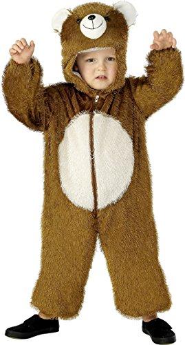 x Bär Kostüm, Jumpsuit mit Kapuze, Größe: S, 30803 (Bär Kinder Kostüm)