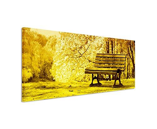150-x-50-cm-quadro-da-parete-panorama-su-tela-fioritura-fine-alberi-banca