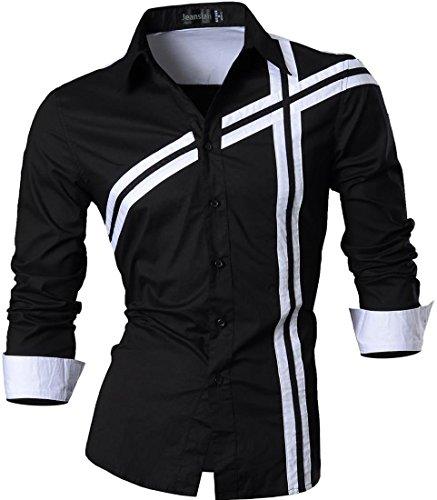 jeansian Herren Freizeit Hemden Shirt Tops Mode Langarmshirts Slim Fit 8397 (USA M (170-175cm 65kg-70kg), Z006a_Black)