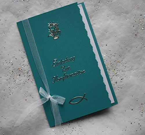5 Einladungskarten zur Konfirmation incl. passendem Umschlag Farbe türkis Handarbeit