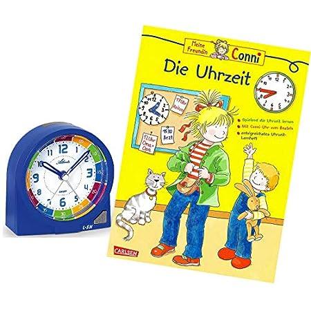 Atlanta Kinderwecker Ohne Ticken Jungen Blau mit Lernbuch Conni Buch Uhrzeit Lernen – 1937-5 BU