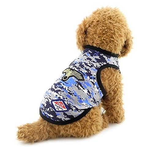 Smalllee _ Lucky _ Ranger Petit Chien Gilet armée Camouflage Gilet T-shirt en coton Chiot Vêtements d'été Doggy Costume
