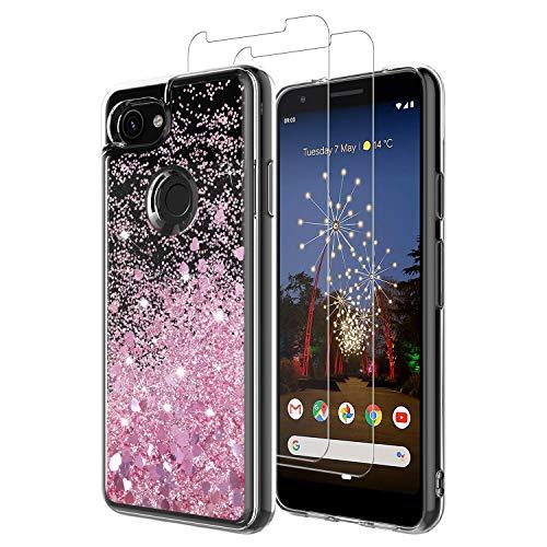 MASCHERI Hülle für Google Pixel 3A XL Glitzer Handyhülle Mit Pixel 3A XL Schutzfolie, [1 Hülle+2 Panzerglas] Schutzfolie Folie Glas Displayschutzfolie TPU Silikon Case Cover - Rosegold