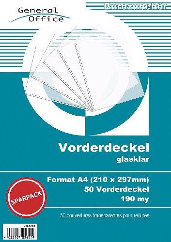 General Office Klarsichtfolie: 50 glasklare Vorderdeckel A4 190my für Spiralbindung (Ringbindung Zubehör)