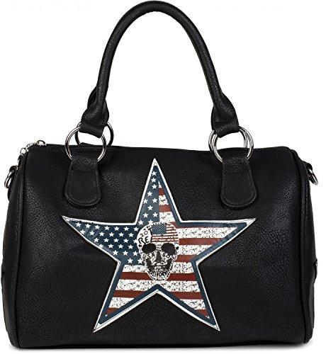 styleBREAKER bolso de mano estilo bolera con aplicación de estrella de EE. UU. y calavera, bolso de bandolera, bolso de mano, de señora 02012112, color:Negro