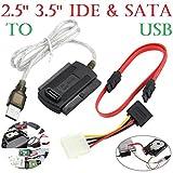 Wokee 2.5/3.5 SATA/IDE zu USB 2.0 Adapter Konverter Kabel für Festplatte CD DVD ROM