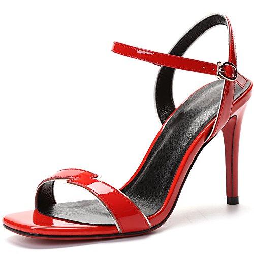 Gürtelschnalle High-Heels Schuhe Fine Heel Sandalen Damenschuhe gules