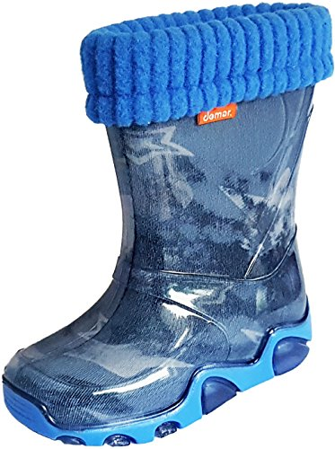 Demar Kids Boys Girls Wellies Rain Boots Warm Fleece-Lined Light Unisex Children Wellington Boots