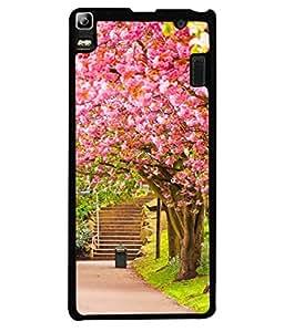 PrintVisa Designer Back Case Cover for Lenovo K3 Note :: Lenovo A7000 Turbo (Pink Abstract Illustration Steps Park Decorative Concept Vector)