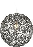 Hängelampe Kugel Papier-Geflecht 1-Flammig Hängeleuchte Pendelleuchte Schlafzimmerlampe (Pendellampe, Wohnzimmerlampe, 32 cm, Höhe 120 cm, Grau)
