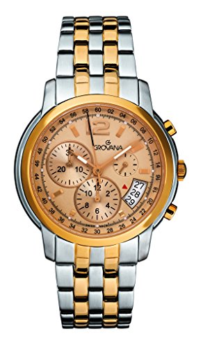 GROVANA 1581.9141 men's quartz Watch with gold Dial chronograph Display and Two tone stainless steel Bracelet 1581.9141