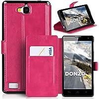 DONZO Tasche Handyhülle Cover Case für das Huawei Honor 3C in Rot Wallet Washed als Etui seitlich aufklappbar im Book-Style mit Kartenfach nutzbar als Geldbörse