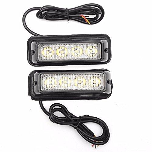 ILS - Pair White/Amber High Bright LED Warning Emergency Light Beacon Strobe Flashlight Bar For Car Truck