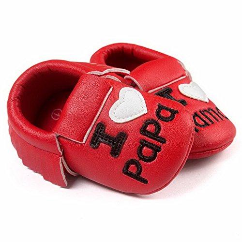 Happy Cherry Chaussures Premiers Pas Bébé Fille Garçon Je t'aime Père Mère en Cuir Artificiel Slip-on sans lacets Semelle Souple Moccasins Frange Printemps Automne Mariage Baptême 0-18mois Rouge