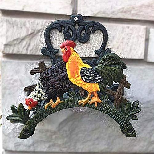 DEG Gartenschlauchtrommel Aus Gusseisen Aufbewahrungsbox Halter Wandhalterung Wandhalterung Dekorativer Hahn Steinschmuck 21.5 * 15.5 * 11cm -