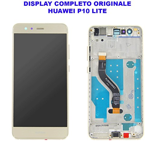 Vetro Schermo Display LCD Touch Screen Huawei P10 LITE Gold Oro Completo Cornice Telaio Frame WAS-LX1 LX1A