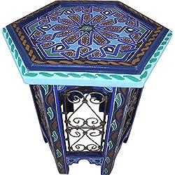 Casablanca - Mesa Auxiliar Oriental marroquí de Madera y Metal, Mesa de té, Mesa Decorativa, Taburete Redondo Hecho a Mano y Pintado a Mano, Altura de 52 cm, diámetro de 42 cm